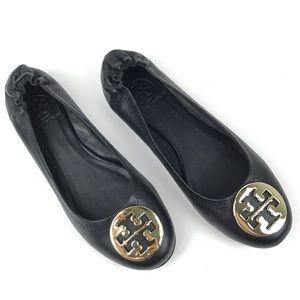 Tory Burch Reva black gold ballet flats leather